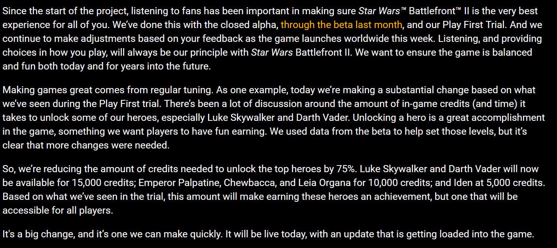 Star Wars Battlefront 2 mikropłatności